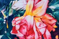 "Garden Notes - Falling. Watercolour on Aquabord, 8"" x 10"". Collection of the Saskatchewan Arts Board"