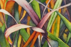 """Grass Notes: Tangle. Watercolour on paper on board, 6"""" x 6"""""""